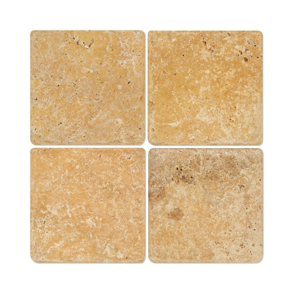 6 x 6 Tumbled Gold Travertine Travertine Tile - Tilephile
