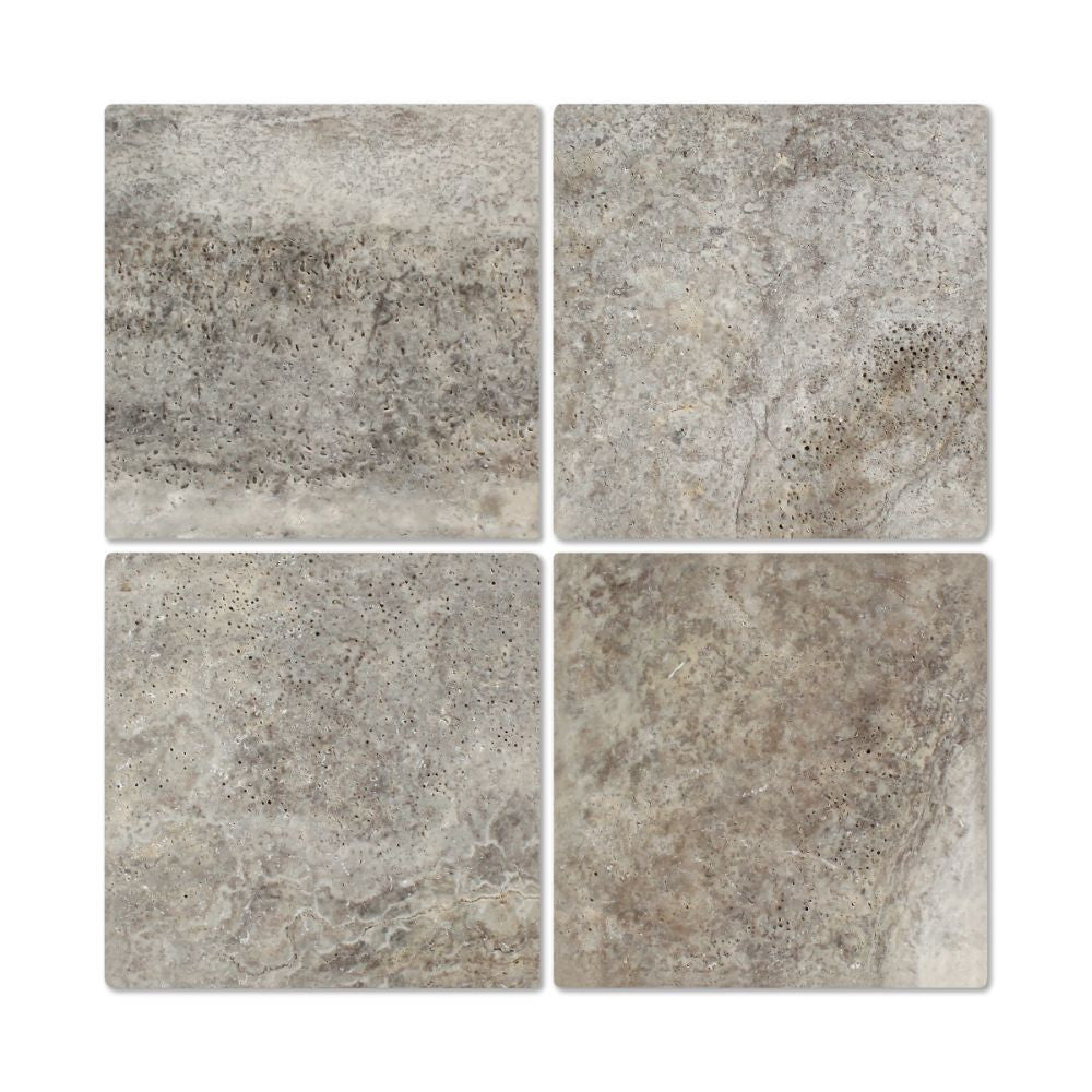 6 x 6 Tumbled Silver Travertine Tile - Tilephile