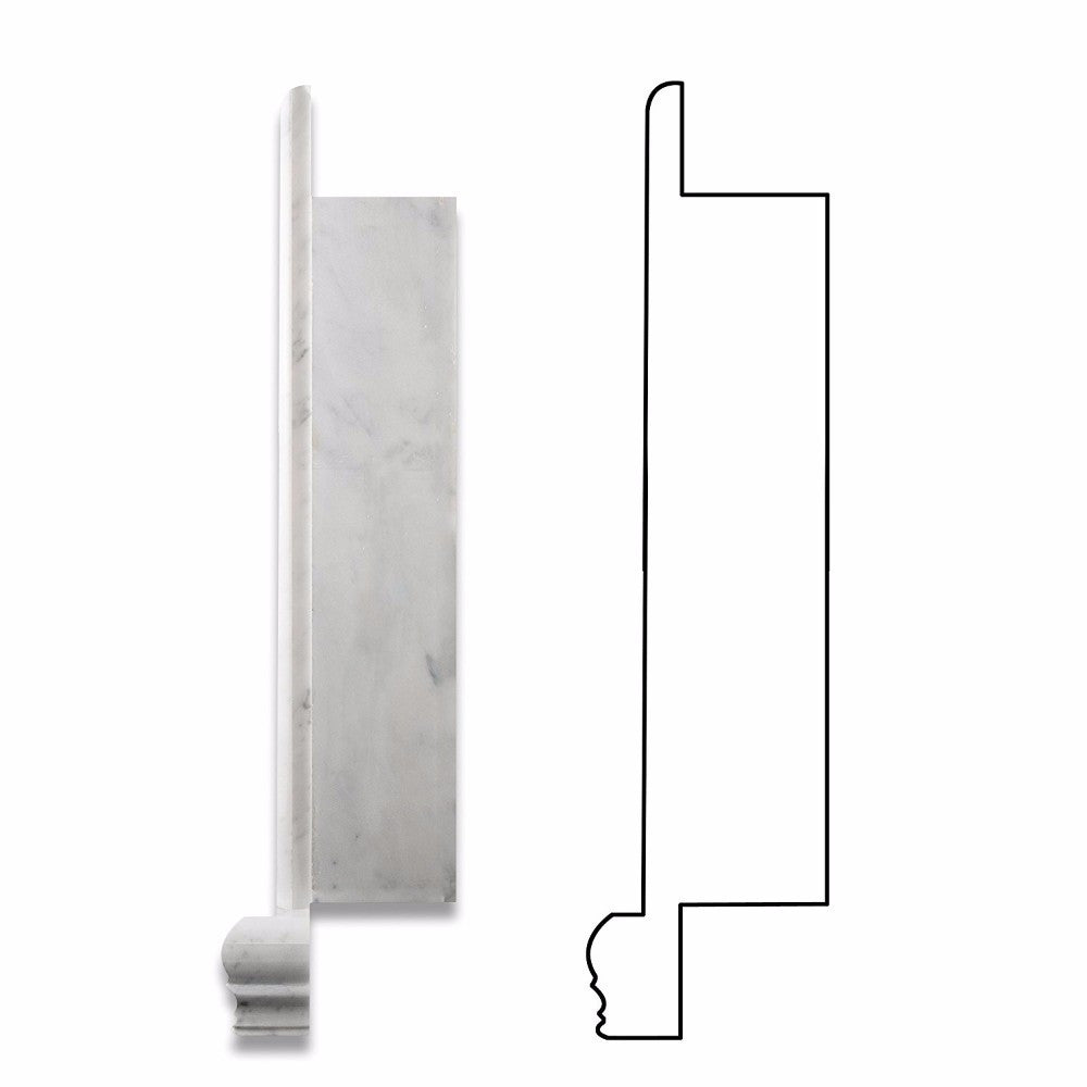 Bianco Carrara Marble Honed Hand-Made Custom Shampoo Niche / Shelf - Large - Tilephile