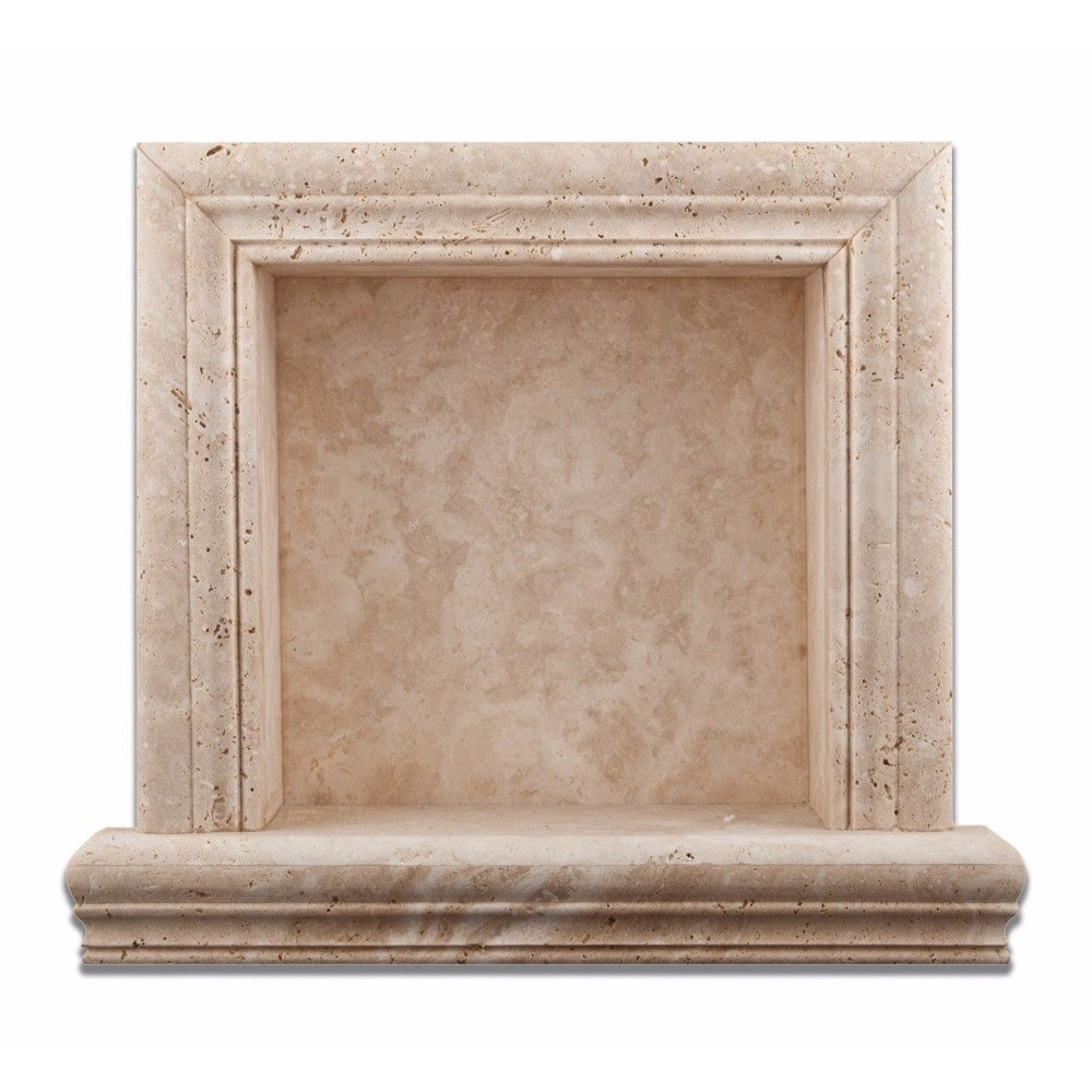 Ivory Travertine Honed Hand-Made Custom Shampoo Niche / Shelf - Small - Tilephile