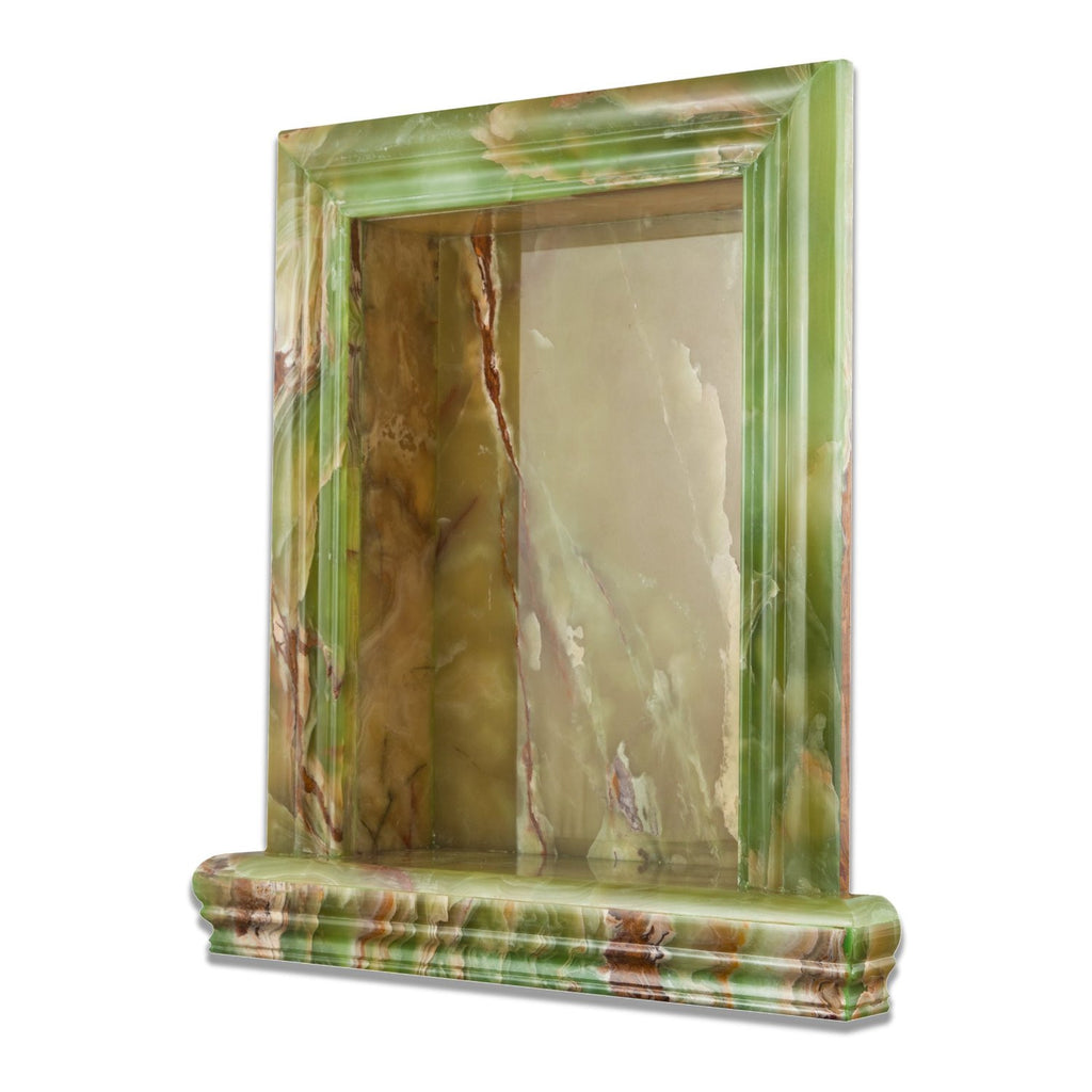 Green Onyx Polished Hand-Made Custom Shampoo Niche / Shelf - Large - Tilephile
