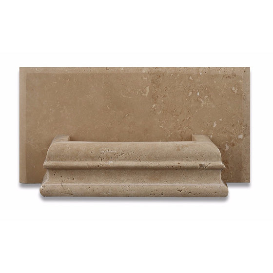 Light Walnut Travertine Honed Hand-Made Custom Soap Holder