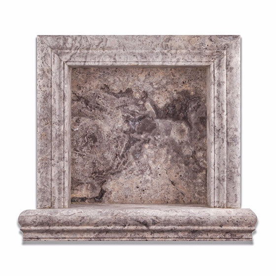 Silver Travertine Honed Hand-Made Custom Shampoo Niche / Shelf - Small - Tilephile