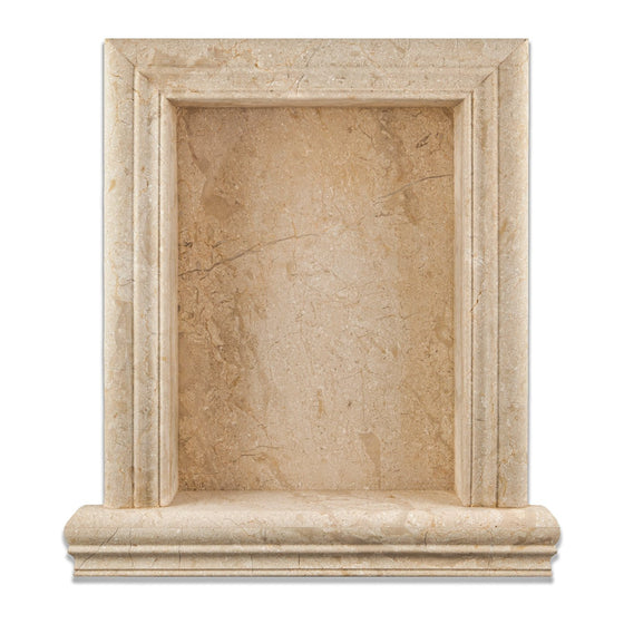 Golden Sands Marble Honed Hand-Made Custom Shampoo Niche / Shelf - Large