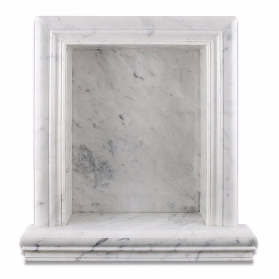 Bianco Carrara Marble Polished Hand-Made Custom Shampoo Niche / Shelf - Large - Tilephile