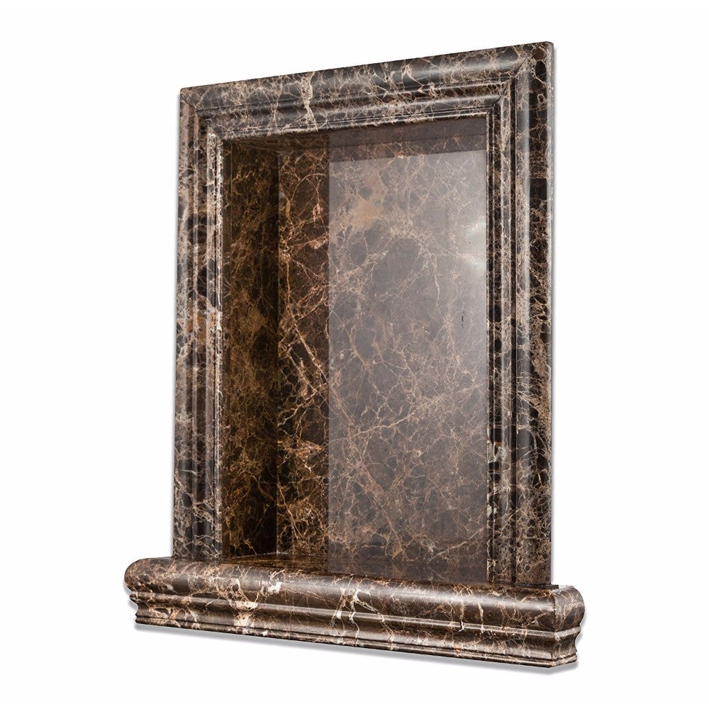 Emperador Dark Marble Polished Hand-Made Custom Shampoo Niche / Shelf - Large