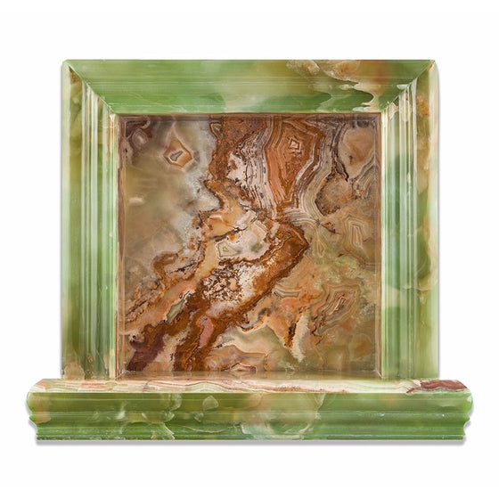 Green Onyx Polished Hand-Made Custom Shampoo Niche / Shelf - Small - Tilephile