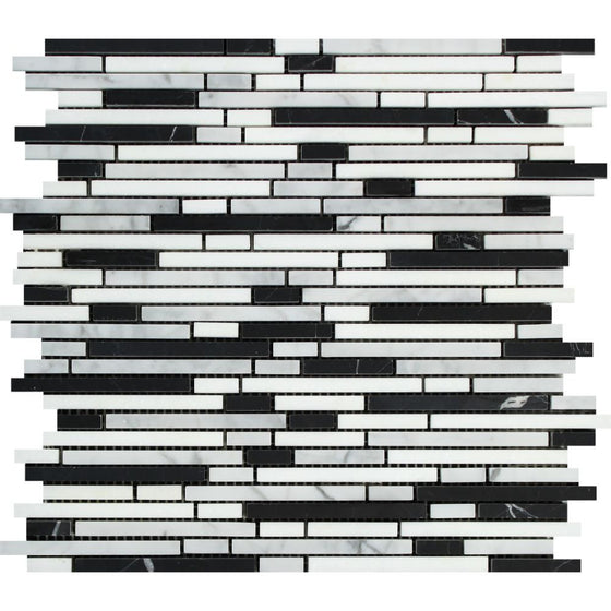 Bianco Carrara Honed Marble Bamboo Sticks Mosaic Tile (Carrara + Black)