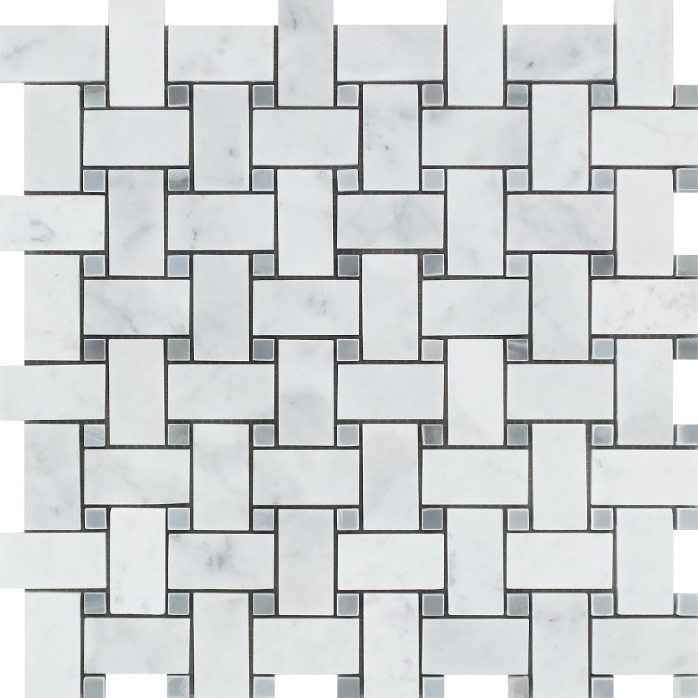 Bianco Carrara Honed Marble Basketweave Mosaic Tile (w/ Blue-Gray Dots) Sample - Tilephile