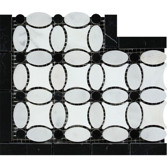 Bianco Carrara Honed Marble Florida Flower Corner (Thassos + White Carrara (Oval) + Black (Dots)) - Tilephile