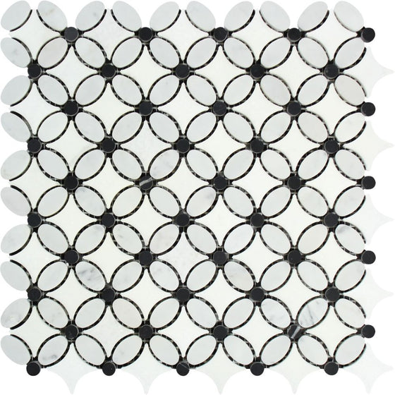 Bianco Carrara Honed Marble Florida Flower Mosaic Tile (Thassos + Carrara (Oval) + Black (Dots))
