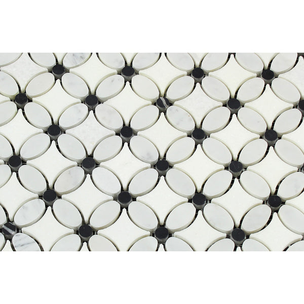 Bianco Carrara Honed Marble Florida Flower Mosaic Tile