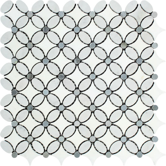 Bianco Carrara Honed Marble Florida Flower Mosaic Tile (Thassos + Carrara (Oval) + Blue-Gray (Dots))
