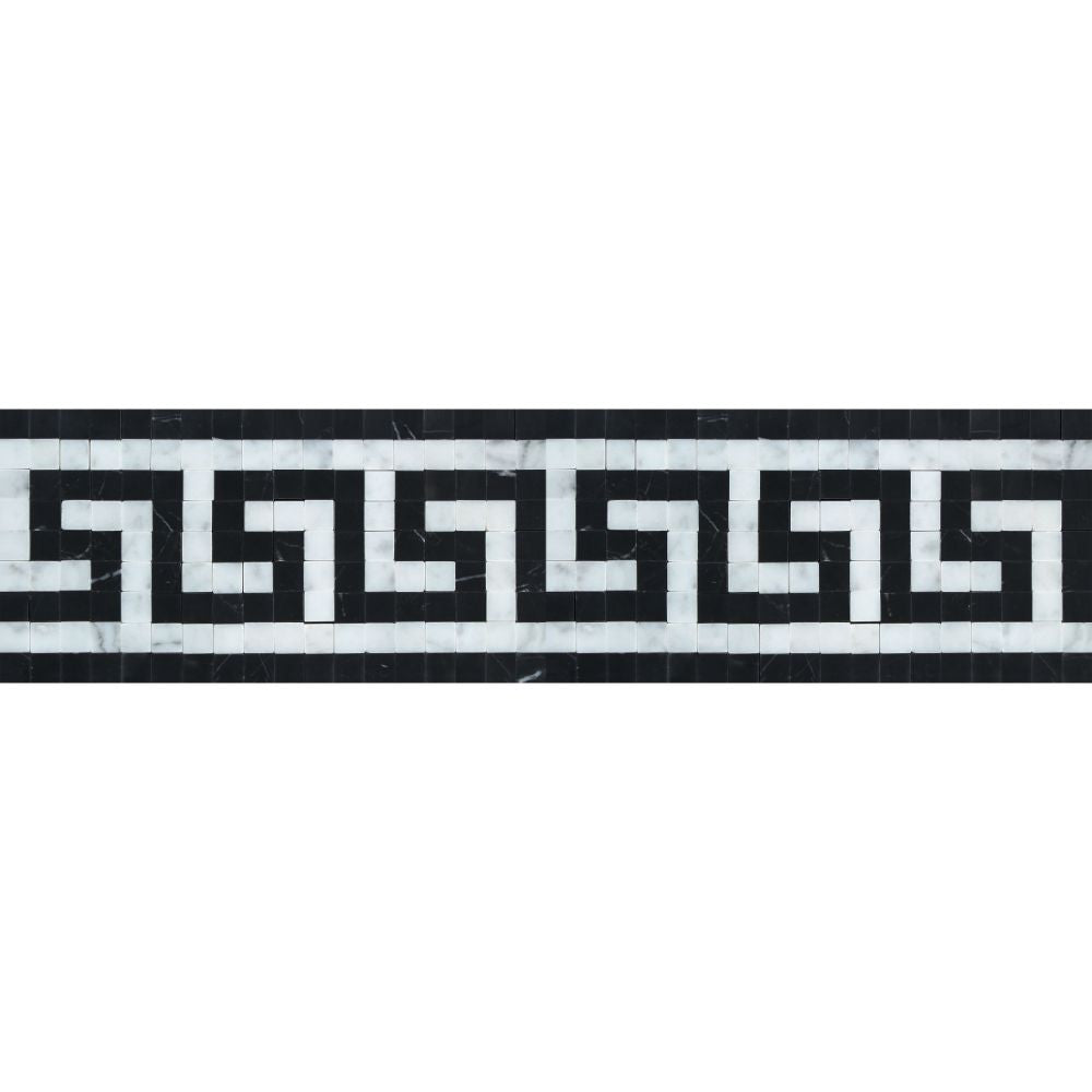 Bianco Carrara Honed Marble Greek Key Border (Carrara w/ Black) Sample - Tilephile