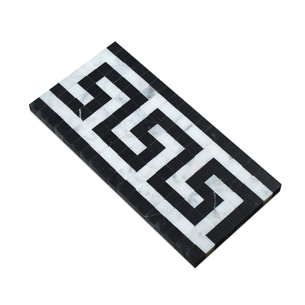 Bianco Carrara Honed Marble Greek Key Border (Carrara w/ Black) - Tilephile