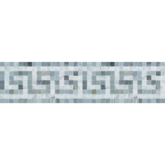 Bianco Carrara Honed Marble Greek Key Border (Carrara w/ Blue-Gray) - Tilephile