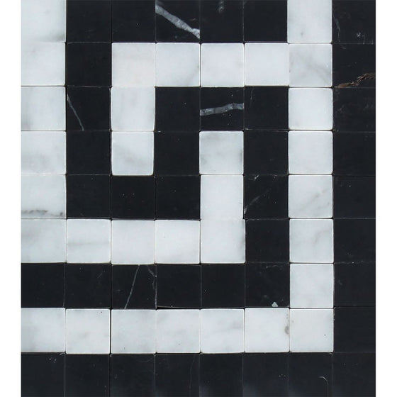 Bianco Carrara Honed Marble Greek Key Corner (Carrara w/ Black) - Tilephile