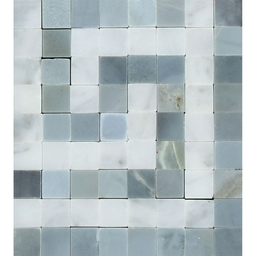 Bianco Carrara Honed Marble Greek Key Corner (Carrara w/ Blue-Gray) Sample - Tilephile