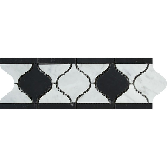 Bianco Carrara Honed Marble Lantern Border (Carrara w/ Black) - Tilephile