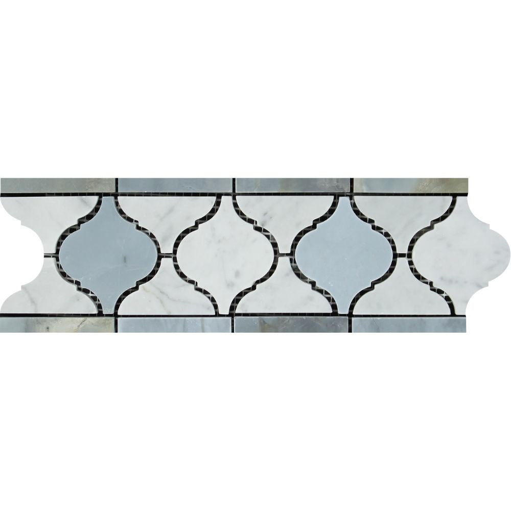 Bianco Carrara Honed Marble Lantern Border (Carrara w/ Blue-Gray) Sample - Tilephile