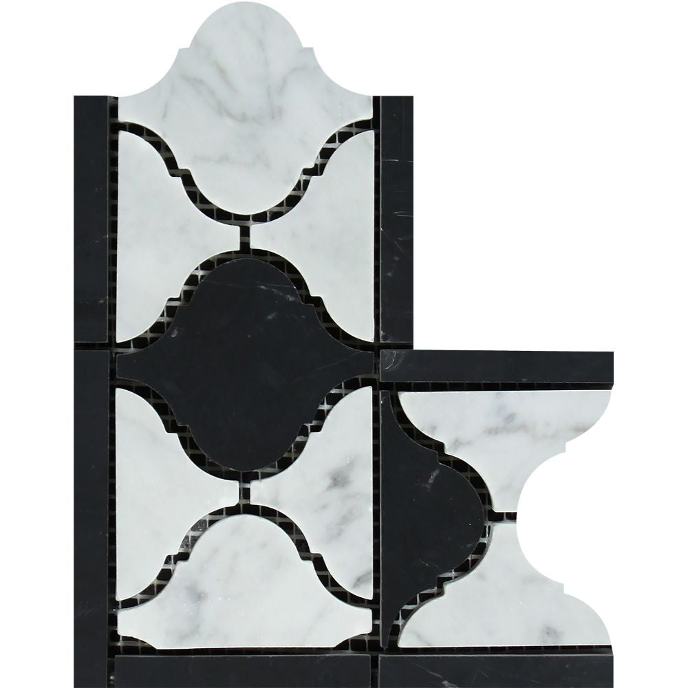 Bianco Carrara Honed Marble Lantern Corner (Carrara w/ Black) Sample - Tilephile