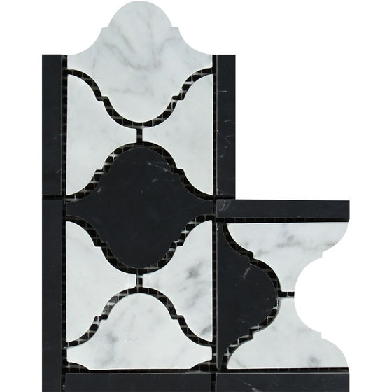 Bianco Carrara Honed Marble Lantern Corner (Carrara w/ Black) - Tilephile