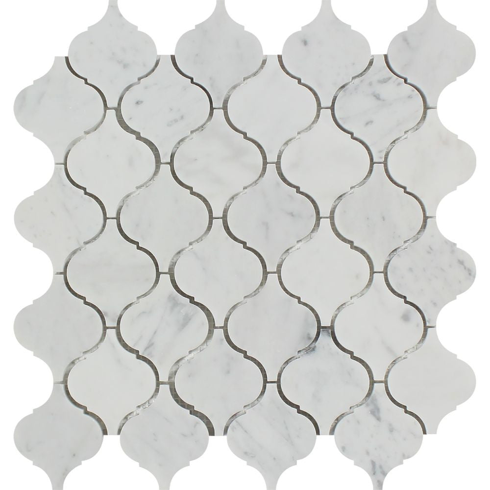 Bianco Carrara Honed Marble Lantern Mosaic Tile Sample - Tilephile