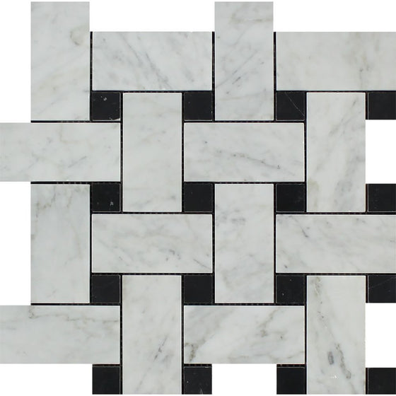 Bianco Carrara Honed Marble Large Basketweave Mosaic Tile (w/ Black Dots)