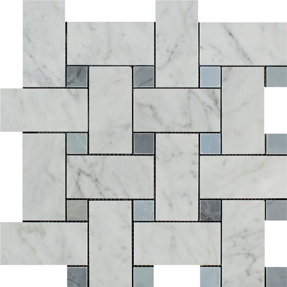 Bianco Carrara Honed Marble Large Basketweave Mosaic Tile (w/ Blue-Gray Dots) Sample - Tilephile