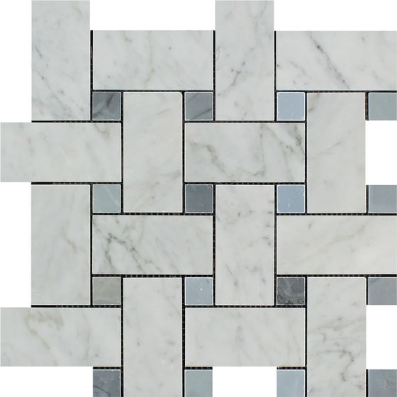 Bianco Carrara Honed Marble Large Basketweave Mosaic Tile (w/ Blue-Gray Dots) - Tilephile