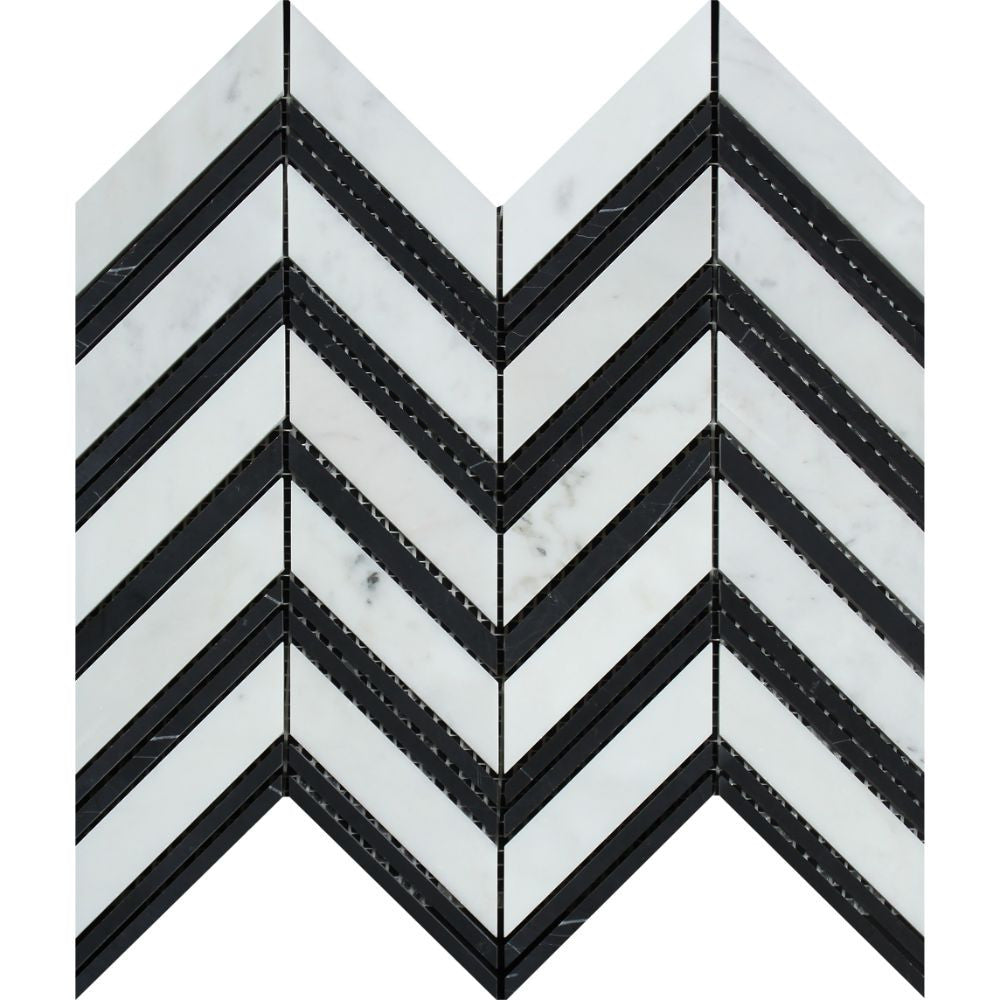 Bianco Carrara Honed Marble Large Chevron Mosaic Tile (Carrara + Black (Thin Strips)) Sample - Tilephile