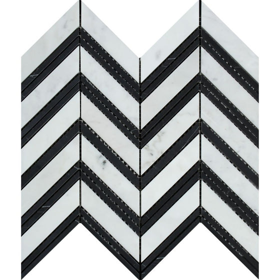 Bianco Carrara Honed Marble Large Chevron Mosaic Tile (Carrara + Black (Thin Strips)) - Tilephile