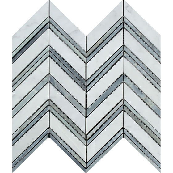 Bianco Carrara Honed Marble Large Chevron Mosaic Tile (Carrara + Blue-Gray (Thin Strips))
