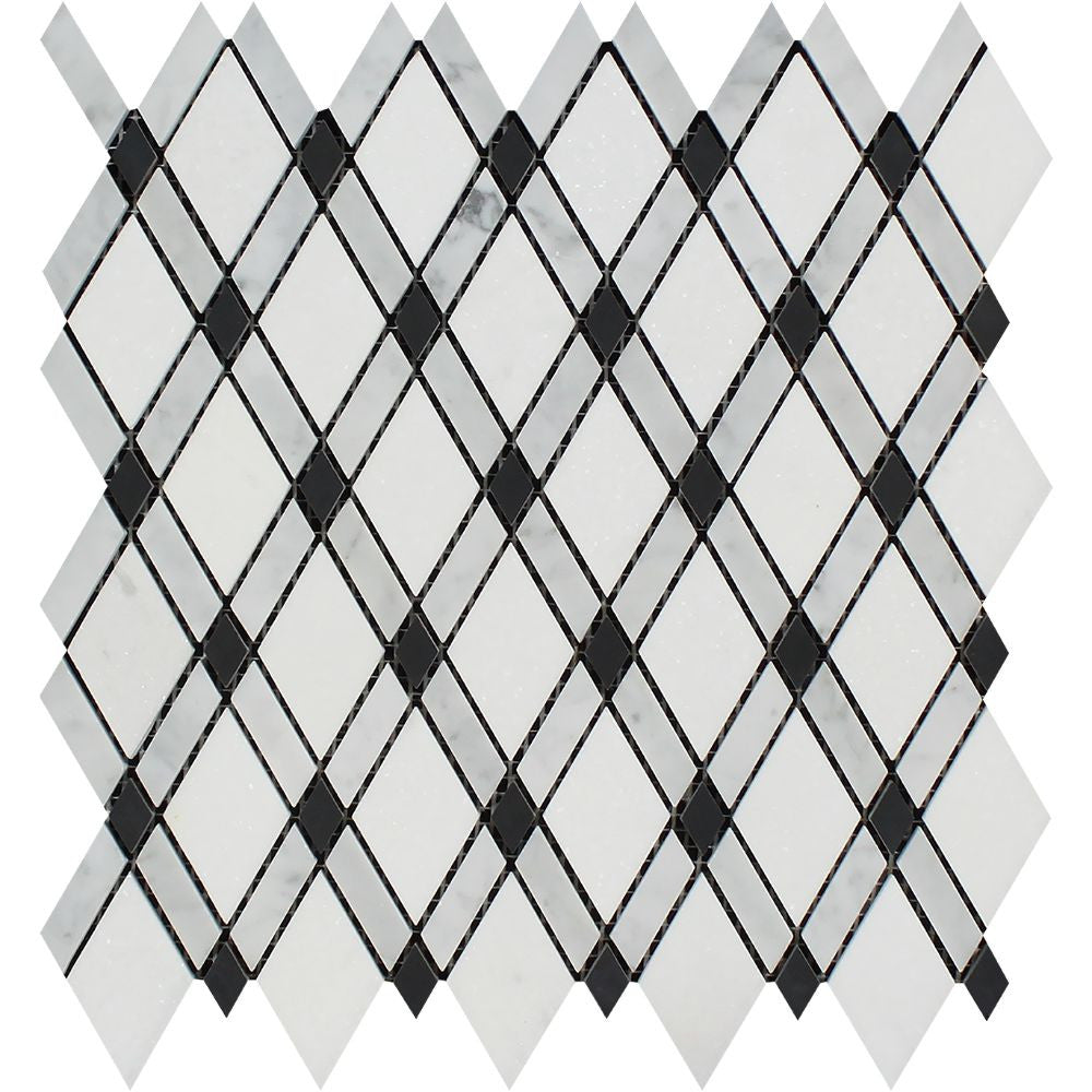Bianco Carrara Honed Marble Lattice Mosaic Tile (Thassos + Carrara + Black) - Tilephile