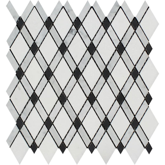 Bianco Carrara Honed Marble Lattice Mosaic Tile (Thassos + Carrara + Black)