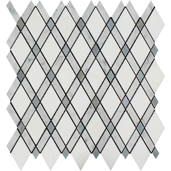 Bianco Carrara Honed Marble Lattice Mosaic Tile (Thassos + Carrara + Blue-Gray)