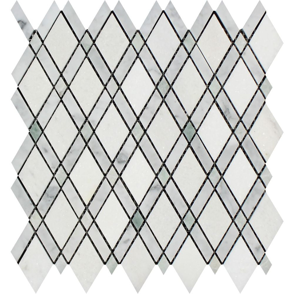 Bianco Carrara Honed Marble Lattice Mosaic Tile (Thassos + Carrara + Ming Green) Sample - Tilephile