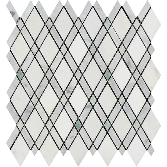 Bianco Carrara Honed Marble Lattice Mosaic Tile (Thassos + Carrara + Ming Green)