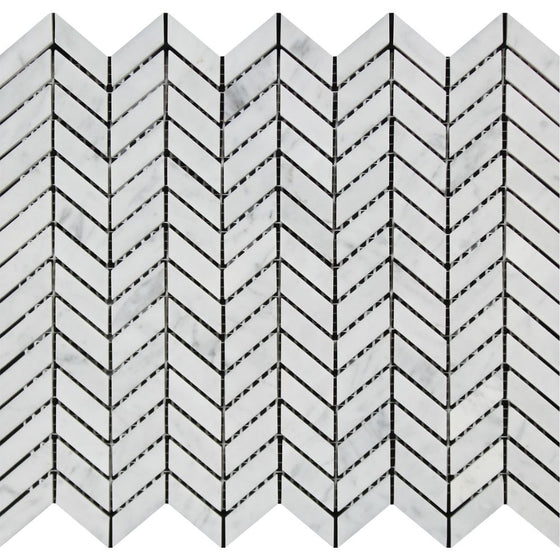 Bianco Carrara Honed Marble Mini Chevron Mosaic Tile - Tilephile