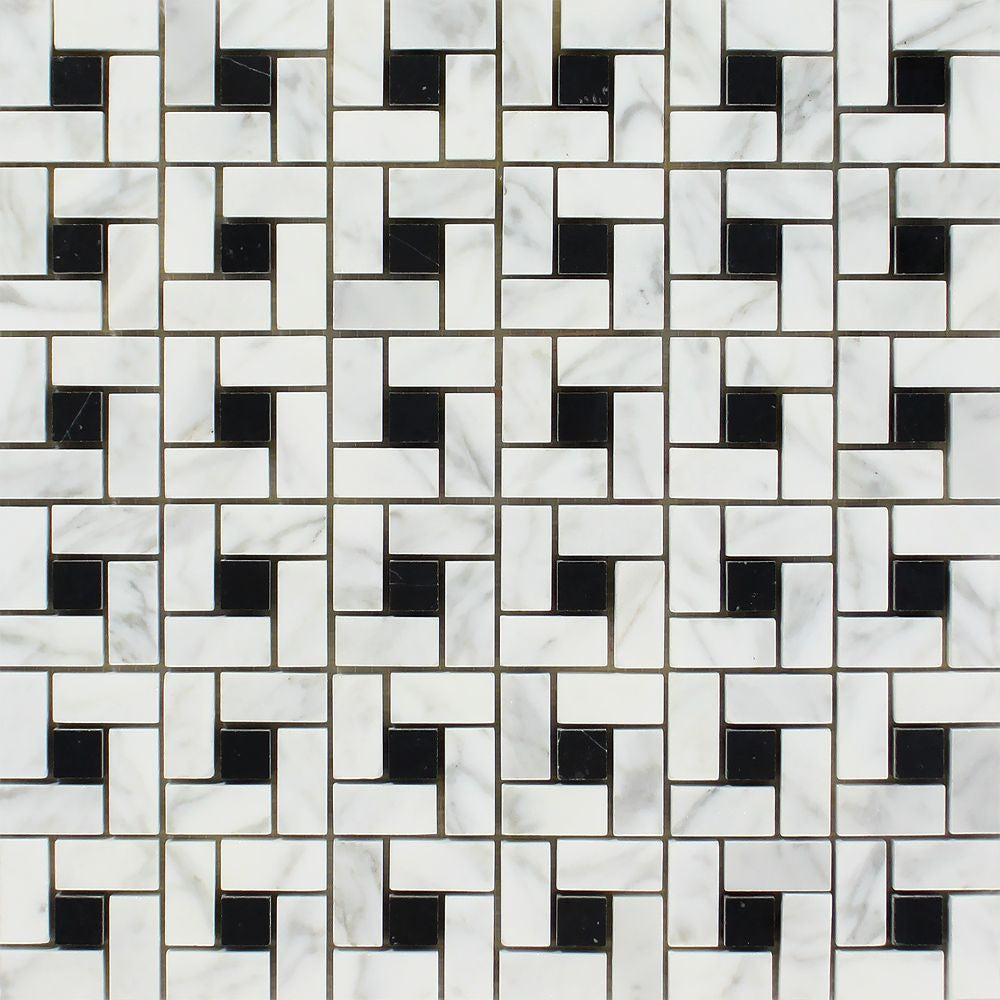 Bianco Carrara Honed Marble Mini Pinwheel Mosaic Tile (w/ Black Dots) Sample - Tilephile