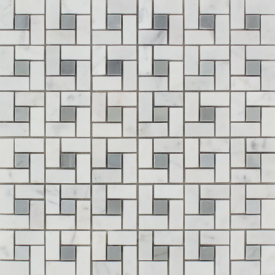 Bianco Carrara Honed Marble Mini Pinwheel Mosaic Tile (w/ Blue-Gray Dots)