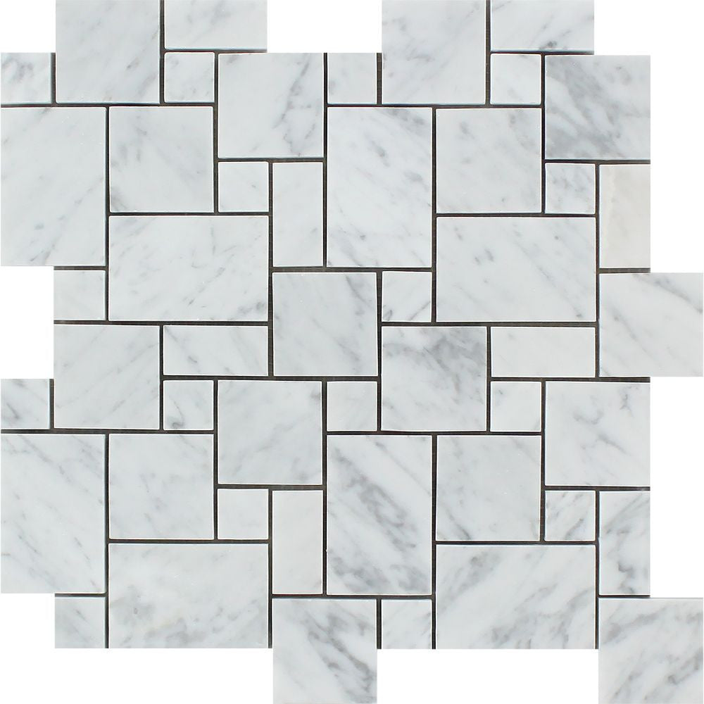 Bianco Carrara Honed Marble Mini Versailles Pattern Mosaic Tile Sample - Tilephile