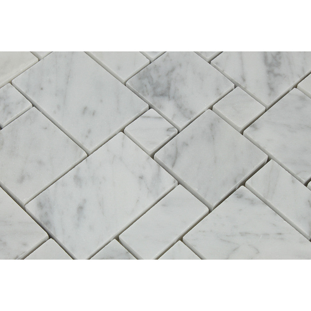 Bianco Carrara Honed Marble Mini Versailles Pattern Mosaic Tile - Tilephile