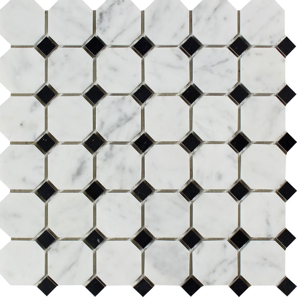 Bianco Carrara Honed Marble Octagon Mosaic Tile (w/ Black Dots) Sample - Tilephile