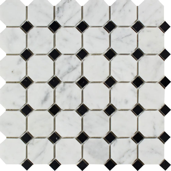 Bianco Carrara Honed Marble Octagon Mosaic Tile (w/ Black Dots) - Tilephile