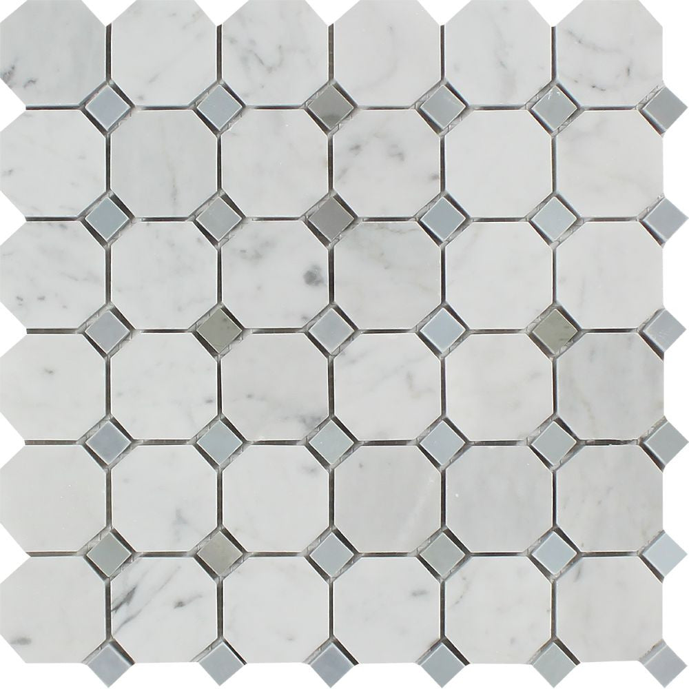 Bianco Carrara Honed Marble Octagon Mosaic Tile (w/ Blue-Gray Dots) Sample - Tilephile