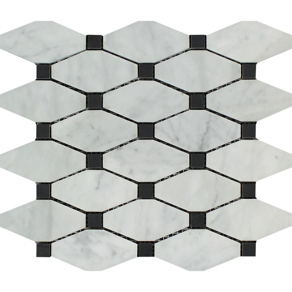 Bianco Carrara Honed Marble Octave Mosaic Tile (w/ Black Dots) - Tilephile