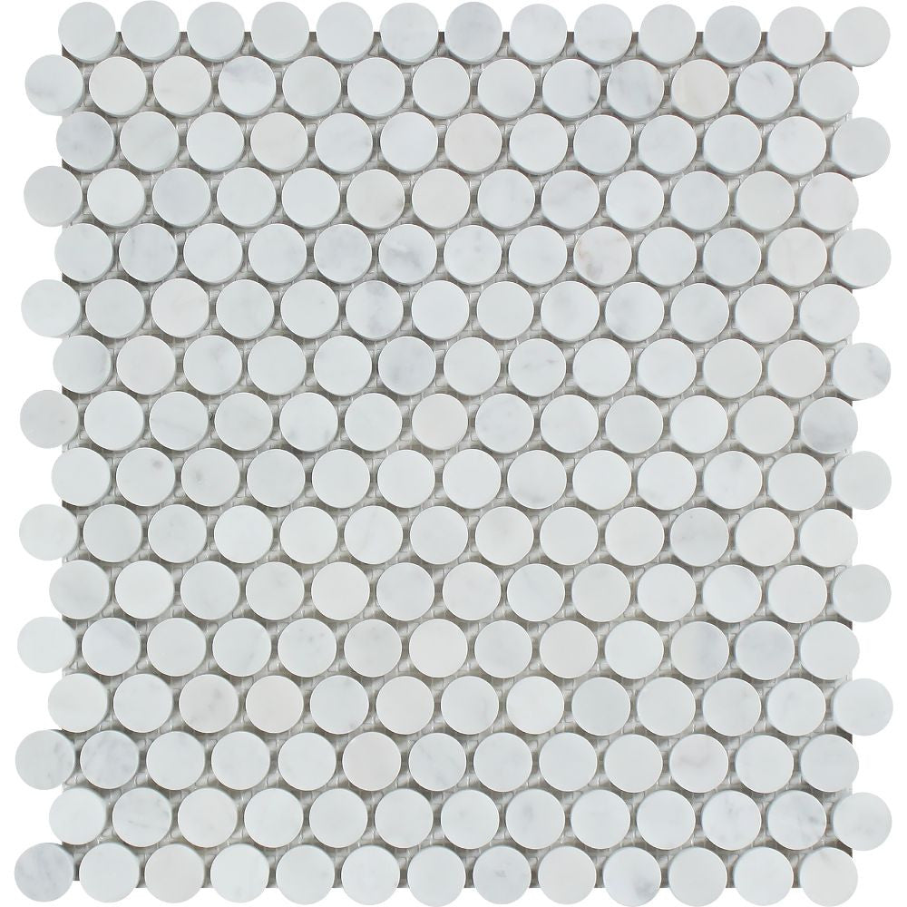 Bianco Carrara Honed Marble Penny Round Mosaic Tile Sample - Tilephile