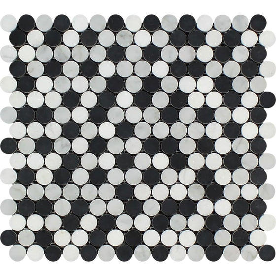 Bianco Carrara Honed Marble Penny Round Mosaic Tile (Carrara + Thassos + Black) - Tilephile