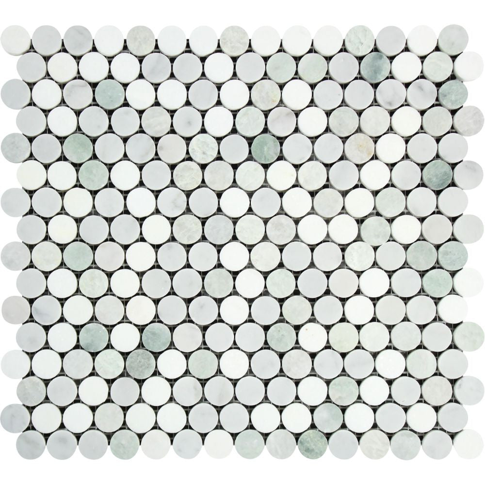 Bianco Carrara Honed Marble Penny Round Mosaic Tile (Carrara + Thassos + Ming Green) Sample - Tilephile